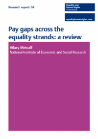 This is the cover of Research report 14: Pay gaps across the equality strands review