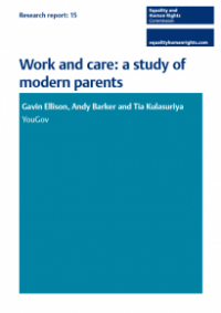 This is the cover of Research report 15: Work and care - study of modern parents