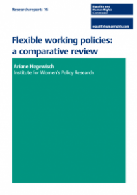 This is the cover of Research report 16: Flexible working policies comparative review