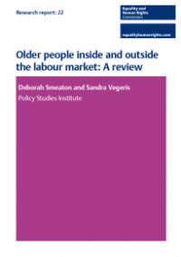 This is the cover of Research report 22: Older people inside and outside the labour market review