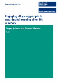 This is the cover of Research report 24: Engaging all young people in meaningful learning after 16 - survey