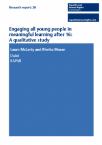 This is the cover of Research report 26: Engaging all young people in meaningful learning after 16.