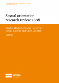 This is the cover of Research report 34: Sexual orientation research review 2008