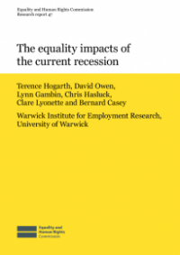 This is the cover for Research report 47: The equality impacts of the current recession