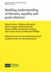 This is the cover of Research report 53: Building understanding of fairness, equality and good relations