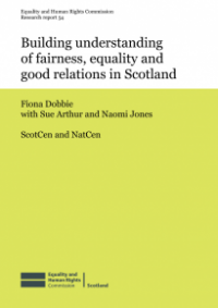 This is the cover for Research report 54: Buidling understanding of fairness, equality and good relations in Scotland