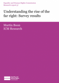 This is the cover for Research report 57: Understanding the rise of the far right - survey results