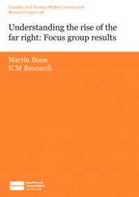 This is the cover of Research report 58: Understanding the rise of the far right - focus group results
