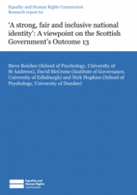 This is the cover of Research report 62: 'A strong, fair and inclusive national identity (Scotland)