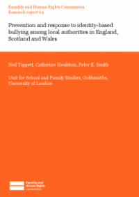 This is the cover of Research report 64: Prevention and response to identity-based bullying among local authorities in England, Scotland and Wales