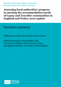 This is the cover of Research report 68: Assessing local authorities' progress in meeting the accomodation needs of Gypsy and Traveller communities in England and Wales