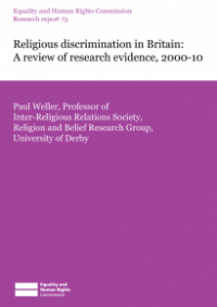 This is the cover of Research report 73: Religious discrimination in Britain (2000-10)