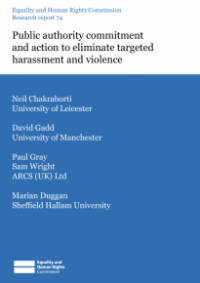 This is the cover for Researchy report 74: Public authority committment and action to eliminate targeted harassment and violence