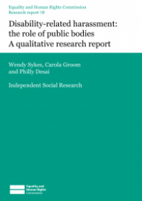This is the cover of Research report 78: Disability-related harassment - the role of public bodies