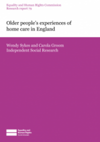 This is the cover of Research report 79: Older people's experiences of of home care in England