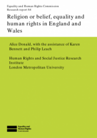 This is the cover of Research report 84: Religion or belief, equality and human rights in England and Wales