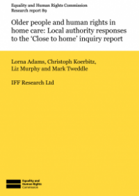 This is the cover of Research report 89: Older people and human rights in home care (responses)
