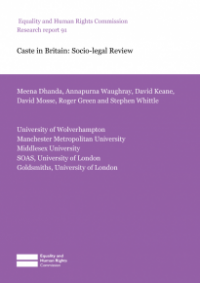 This is the cover of Research report 91: Caste in Britian - socio-legal review