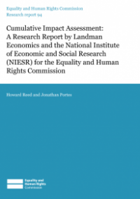 This is the cover of Research report 94: Cumulative impact assessment publication