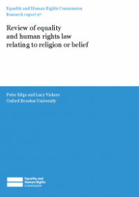 This is the cover of Research report 97: Review of equality and human rights law relating to relion or belief