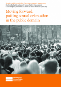 This is the cover of research summary 40: Moving forward - putting sexual orientation in the public domain