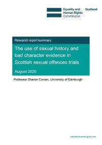 Sexual history and bad character evidence report front cover