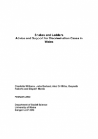 This is the cover of Snakes and ladders: advice and support for discrimination cases in Wales
