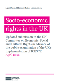 Front cover of the socio-economic rights in the UK publication