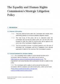 This is the cover of the Commission's Strategic litigation policy