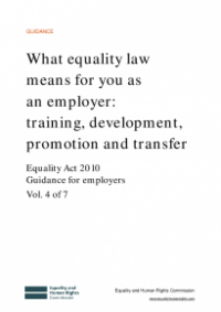 This is the cover for What equality law means for you as an employer: training, development, promotion and transfer