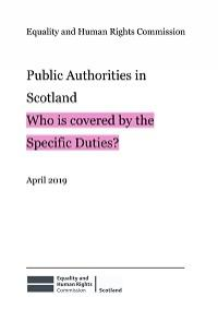 Cover of public authorities in Scotland - who is covered by the specific duties
