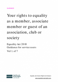 This is the cover for Your rights to equality as a member, associate member or guest of an association, club or society